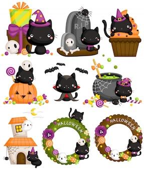 Conjunto de gato preto de halloween