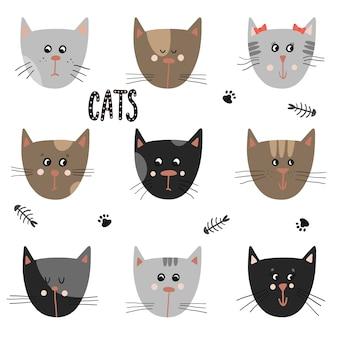 Conjunto de gatos bonitos. animais engraçados de desenhos animados.