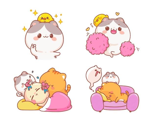 Conjunto de gatos bonitos de ilustração de desenho animado de personagem engraçado
