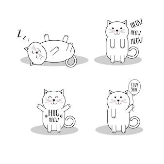Conjunto de gatos bonitos dos desenhos animados