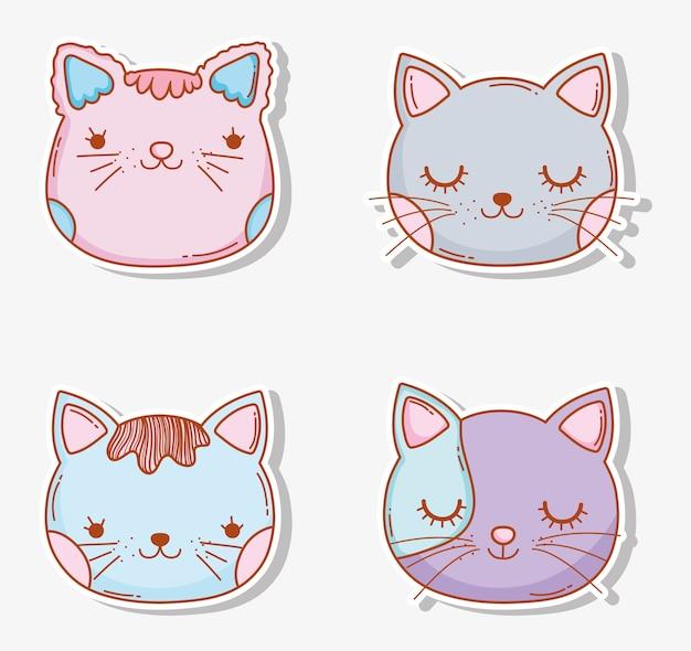 Conjunto de gatos cabeça animal de estimação