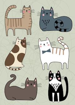 Conjunto de gatos com personagens fofinhos, coleção de animais de estimação