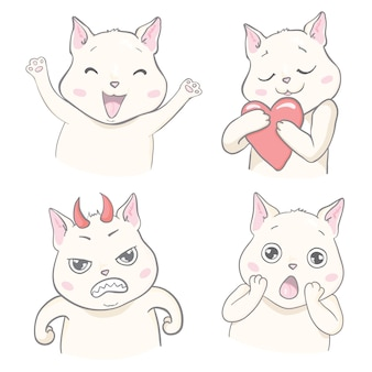 Conjunto de gatos de emoções