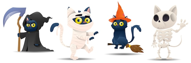Conjunto de gatos de halloween de desenho animado