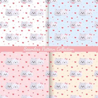 Conjunto de gatos de padrão sem emenda apaixonados