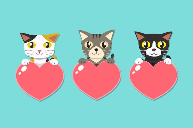 Conjunto de gatos dos desenhos animados com sinais de coração