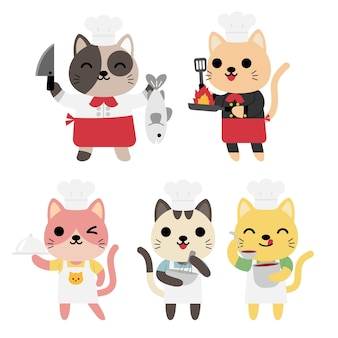 Conjunto de gatos engraçados cozinhando, chefs, comida, servir