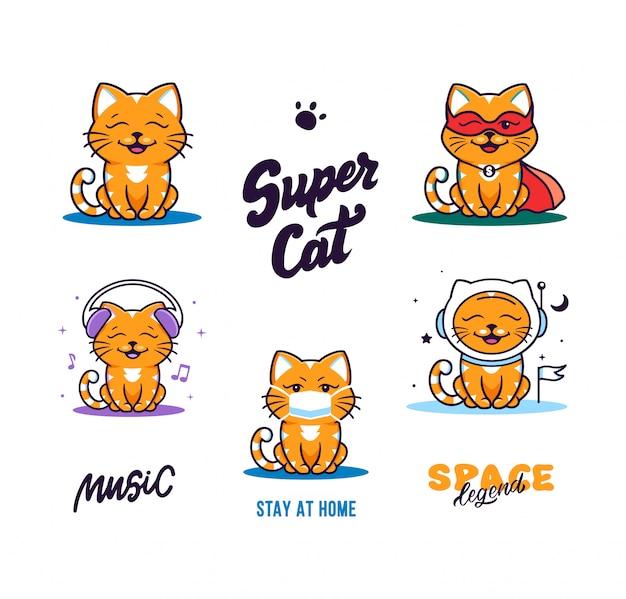 Conjunto de gatos engraçados de logotipos. logotipos de coleção, gatinho fofo de animais