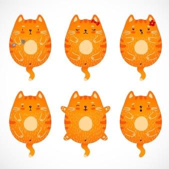 Conjunto de gatos engraçados doodle vermelho.