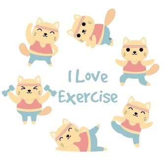 Conjunto de gatos engraçados fazendo exercícios, ginástica, ioga, exercícios