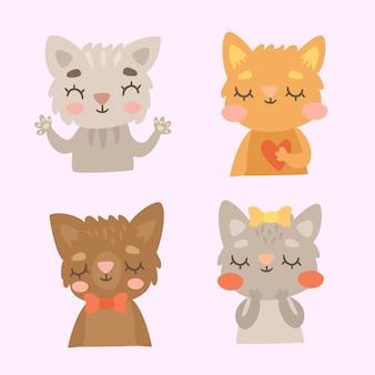 Conjunto de gatos fofos