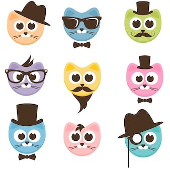 Conjunto de gatos hipster de desenho animado