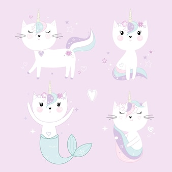 Conjunto de gatos unicórnios fofos isolados em roxo