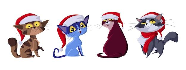 Conjunto de gatos usam chapéus de papai noel