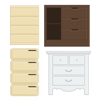 Conjunto de gaveta de ilustração vetorial e armário para estilo de design plano doméstico interior