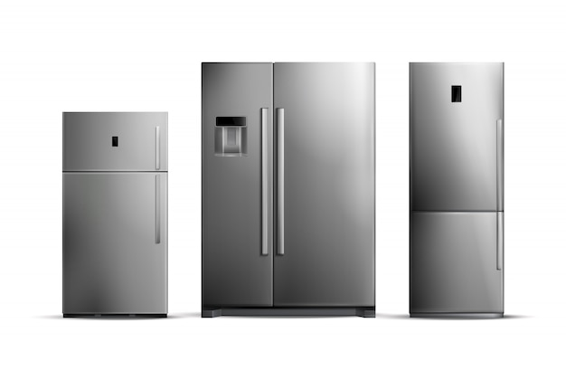 Conjunto de geladeiras de prata realistas de vários tamanhos, isolado no branco