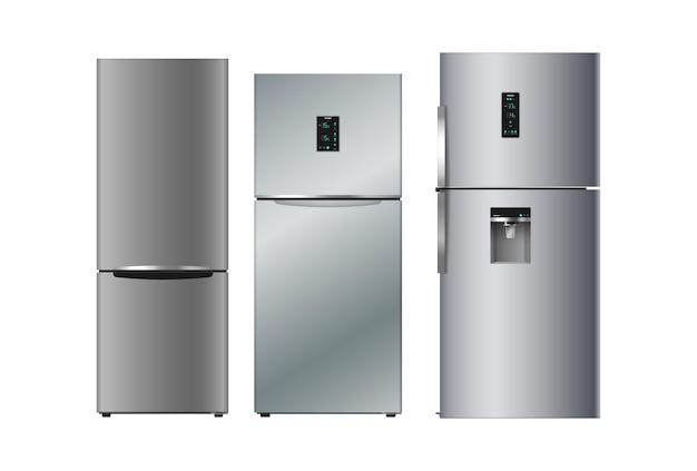 Conjunto de geladeiras de prata realistas para cozinha moderna