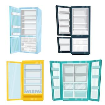 Conjunto de geladeiras domésticas e comerciais