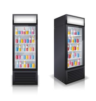 Conjunto de geladeiras fechadas de bebidas