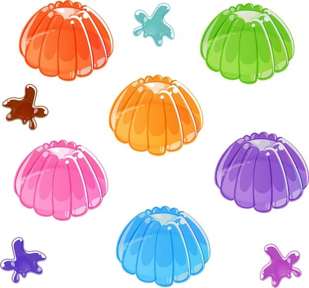 Conjunto de gelatina brilhante colorido. isolado