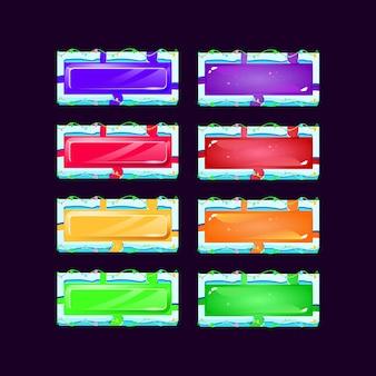 Conjunto de gelatina colorida gui e botão de cristal com borda de moldura de gelo de lava azul para elementos de recursos de interface do usuário do jogo