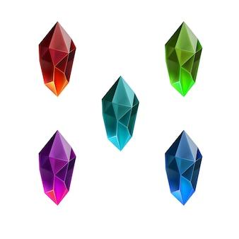 Conjunto de gemas brilhantes