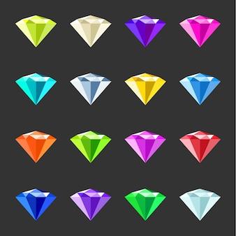 Conjunto de gemas coloridas. coleção de cristais de jóias. pedras preciosas diferentes