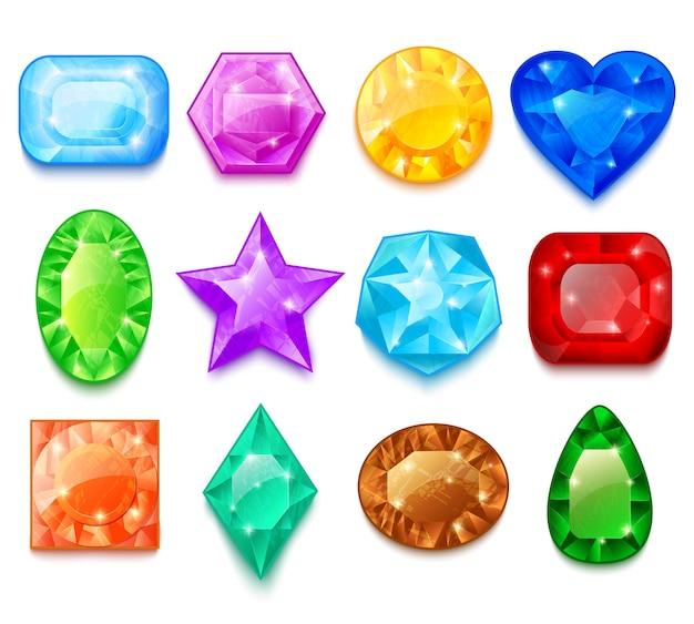 Conjunto de gemas coloridas