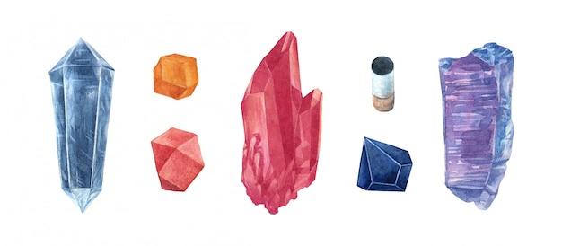 Conjunto de gemas de cristal em aquarela