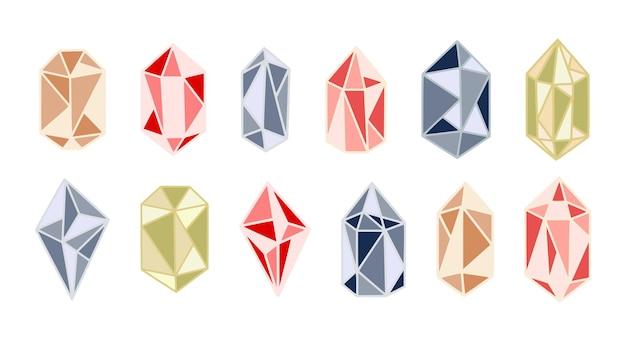 Conjunto de gemas de diamantes de cristais vintage mágicos coloridos e elementos de joalheria