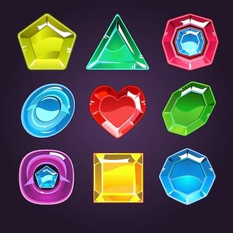 Conjunto de gemas e diamantes dos desenhos animados