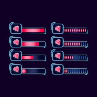 Conjunto de gemas gui fantasia rpg diamante barra de progresso para elementos de ativos de interface do usuário do jogo