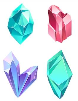 Conjunto de gemas realistas. belos cristais de cores diferentes.