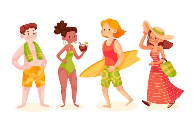 Conjunto de gente plana com roupa de verão