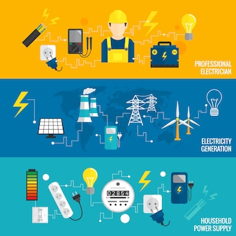 Conjunto de geração de energia de banner de linha