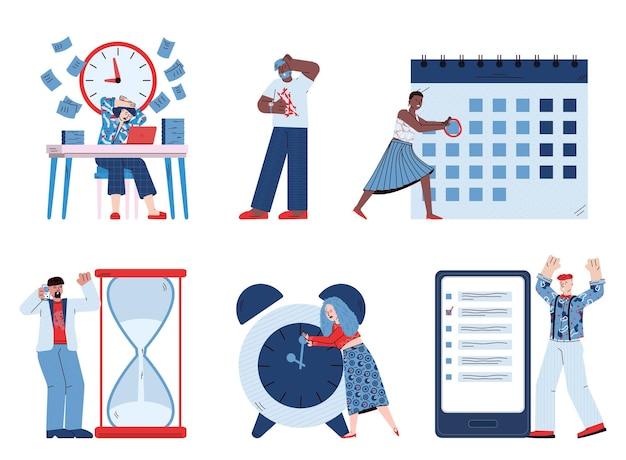 Conjunto de gerenciamento de tempo com ilustração de desenhos animados de personagens