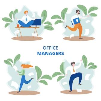 Conjunto de gerentes de escritório ocupado em estilo simples