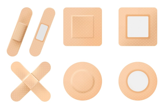 Conjunto de gesso médico elástico ou esparadrapo. emplastros isolados em um fundo branco. gesso para feridas ou remendo enfaixado, realista em fundo branco, vetor 3d