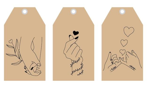 Conjunto de gesto de coração de pose de mão.