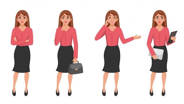 Conjunto de gesto de mulher dos desenhos animados