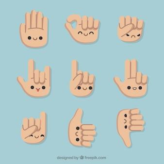 Conjunto de gestos com as mãos agradáveis