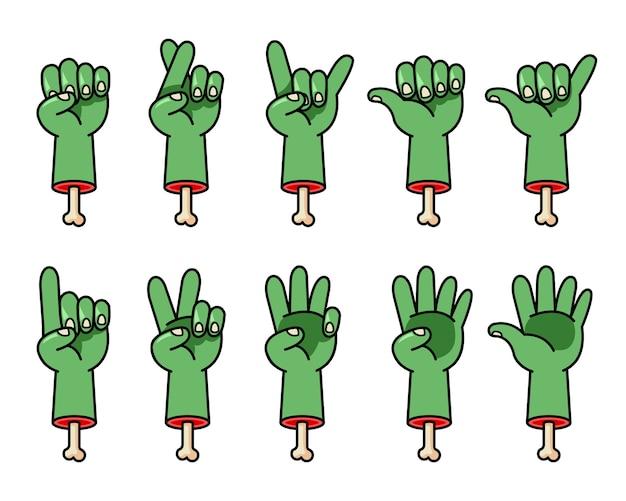 Conjunto de gestos com as mãos de zumbi assustador
