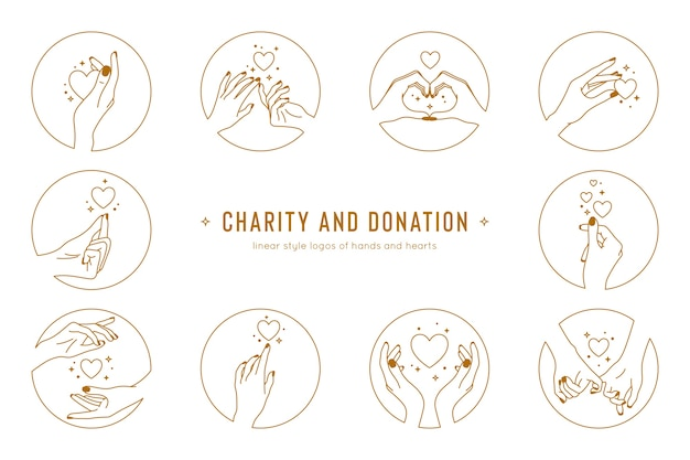 Conjunto de gestos com as mãos e mãos dadas do modelo de logotipo logotipos de caridade e doação em estilo linear