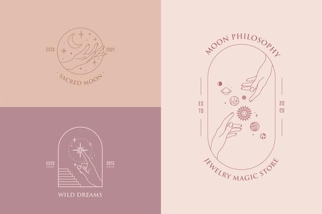 Conjunto de gestos de mão de modelos de design de logotipo em estilo linear mínimo