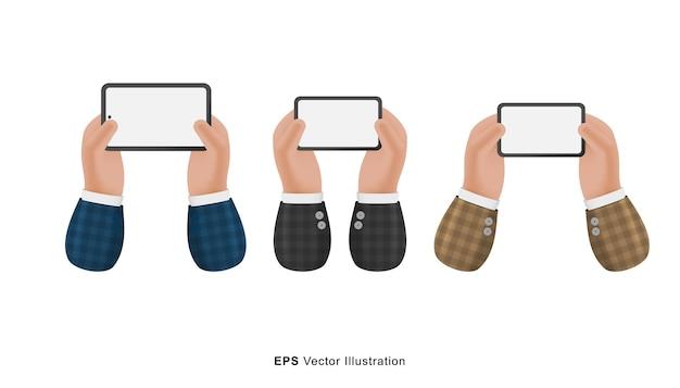 Conjunto de gestos de mãos de empresários de pose diferente segurando smartphone ilustração 3d dos desenhos animados