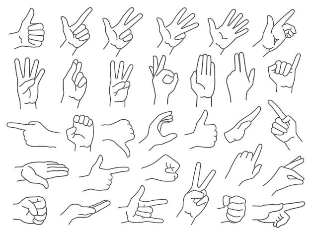 Conjunto de gestos de mãos em linha