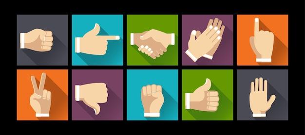 Conjunto de gestos de mãos na ilustração design plano