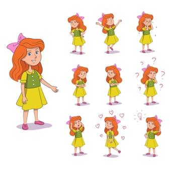 Conjunto de gestos e emoções de garota fofa criança está brava feliz chorando triste discutindo pensando pensando no amor