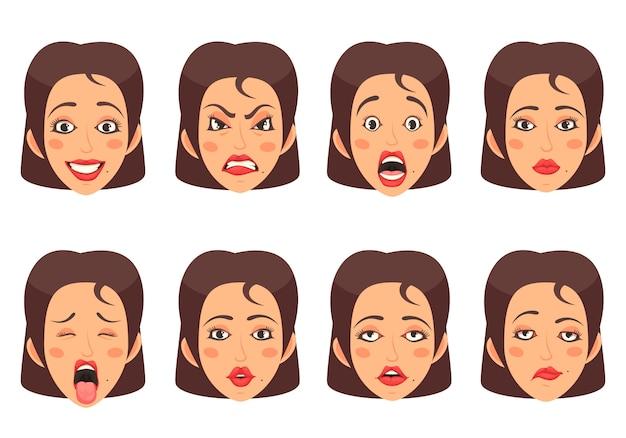 Conjunto de gestos faciais de woen