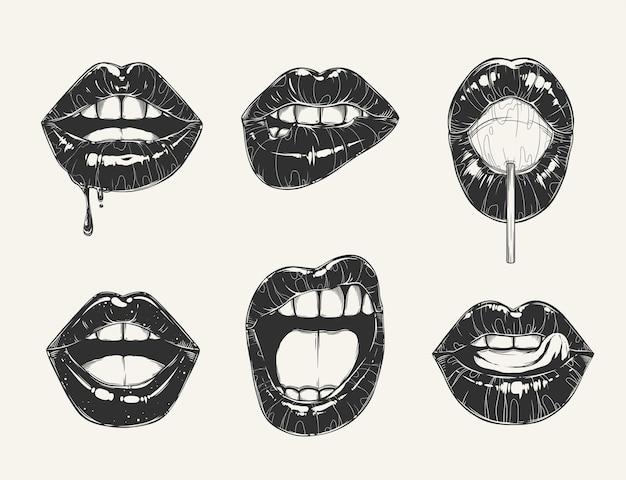Conjunto de gestos labiais de mulher.